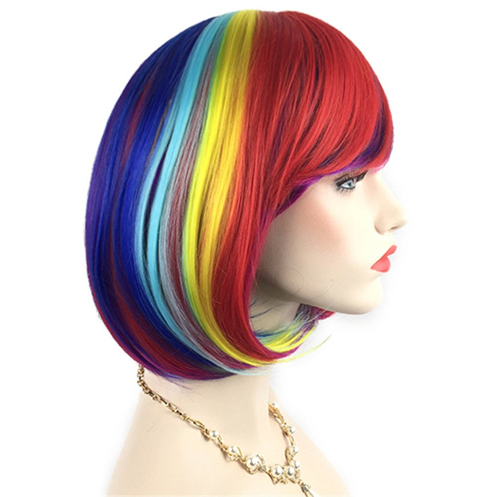 Mersi Short Bob Hair Wigs with Bangs Rainbow Costume Wigs Colorful Cosplay Wig for Women with Wig Cap (Red/Blue / Yellow/Purple) S025R