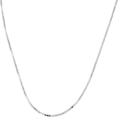 """Solid Adjustable Box Chain Necklace 14K White Gold 22/"""""""