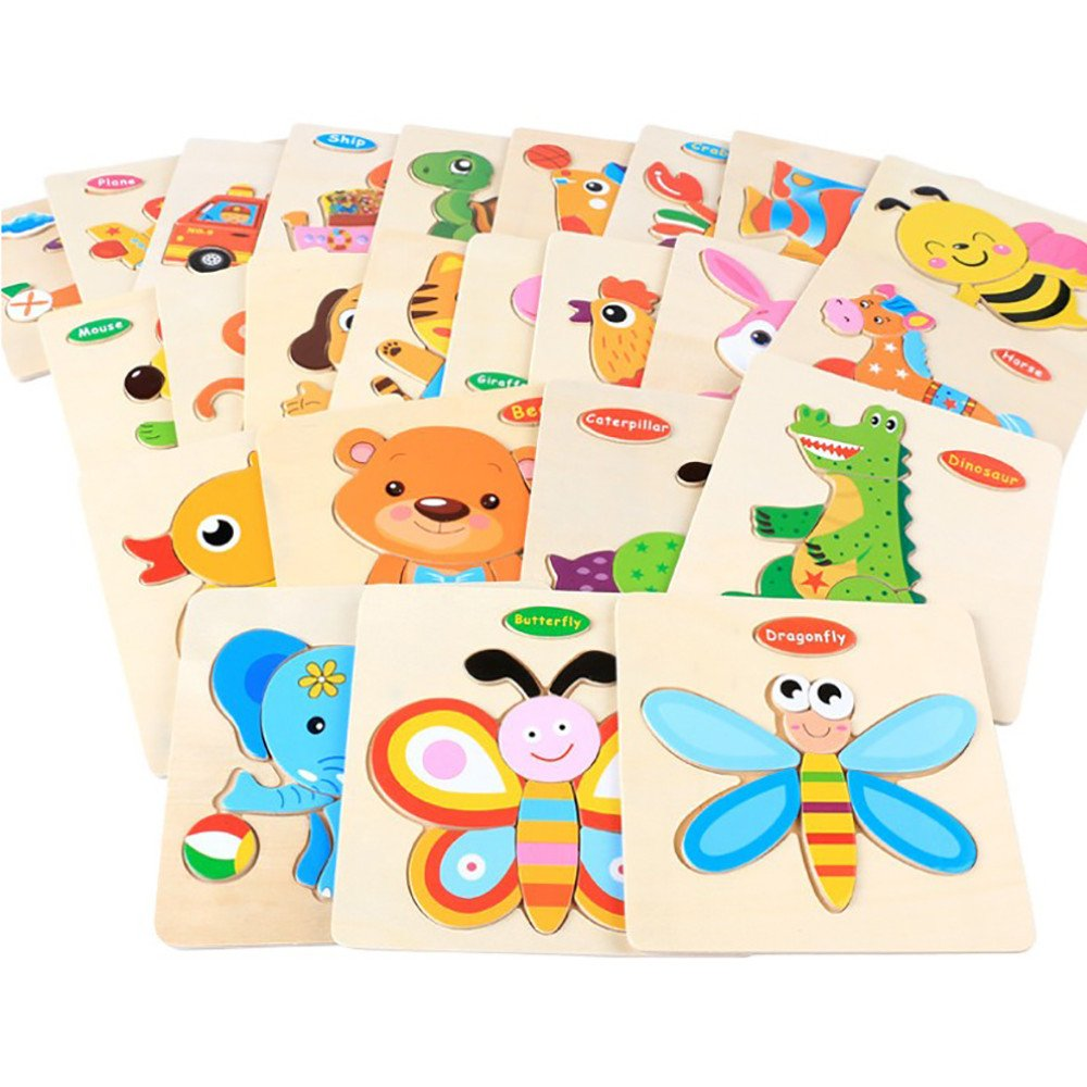 CieKen Wooden Puzzles for Toddlers 2 Years,Wooden Puzzle Educational Developmental Baby Kids Training Toy by CieKen (Image #3)