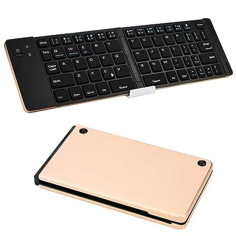 Mamun Nueva Teclado inalámbrico portátil Ultrafino Plegable con Teclado Bluetooth Mini para iPad ,iOS /