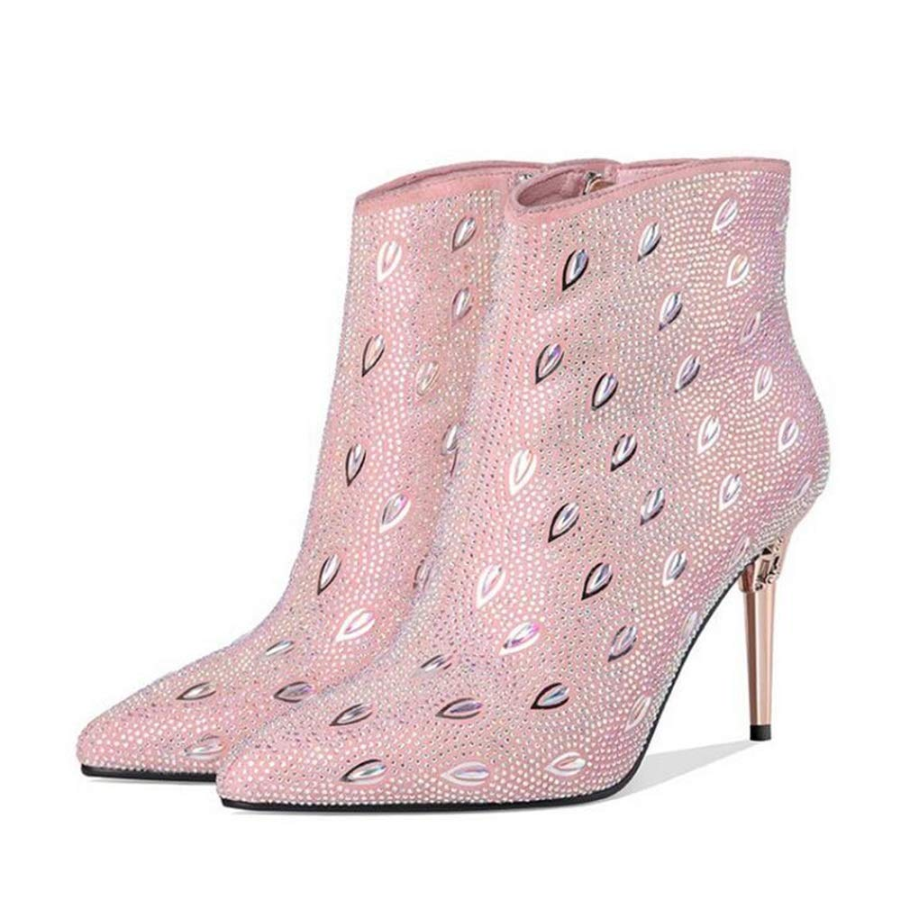 Hy Damenmode Stiefel, Herbst Winter Leder Spitzen Stiletto Heel Stiefelies, Damen Sexy Strass Winterstiefel, Kleid Schuhe Party & Evening (Farbe   Rosa, Größe   38)