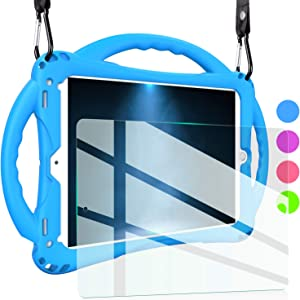 TopEsct iPad 9.7 Case for Kids,【Upgraded Version】 Shockproof Silicone Handle Stand Case Cover&(Tempered Glass Screen Protector) for iPad 5th/6th Gen. iPad Air 1/2 and iPad Pro 9.7 (Blue)