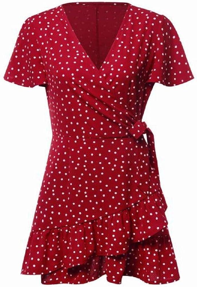 XGUMAOI Women Summer Dot Floral Flare V Neck Bow Ruffles Bohe Party Short Mini Dress