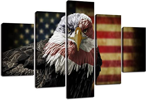 Large Wall Art Picture Eagle American Flag Canvas Painting 5 Piece Rustic USA Flag Posters Patriotic Military Print Artwork Home Decor
