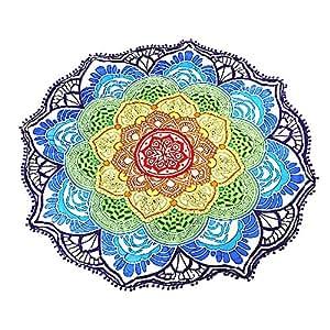 Toalla de Playa Redonda 143cm ATailorBird Estilo Mandala Bohemia e Hippy 100% Algodón Artificial Ideal
