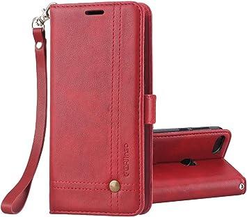 Ferlinso Funda Xiaomi Mi A1, Carcasa Cuero Retro Elegante con ID Tarjeta de Crédito Tragamonedas Soporte de Flip Cover Estuche de Cierre magnético para Xiaomi Mi A1 (Rojo): Amazon.es: Electrónica