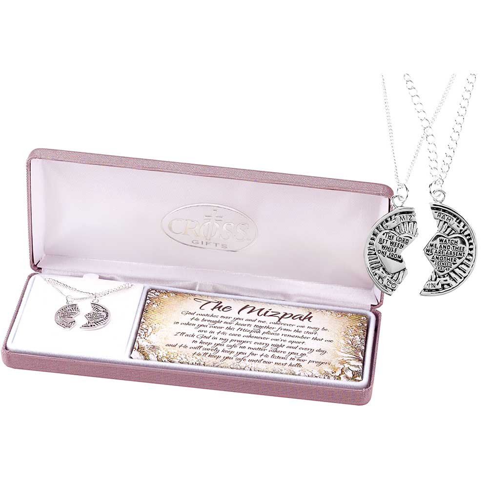 6d4c7801780 Amazon.com  The Mizpah Coin Sterling Silver 18 and 24 Inch Silver Plated Pendant  Necklace Set of 2  Jewelry