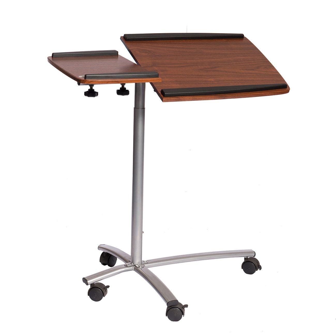 Techni Mobili RTA-B001N-M615 Sit-to-Stand Rolling Adjustable Laptop Cart, 32'' W x 18'' D x 47'' H, Mahogany