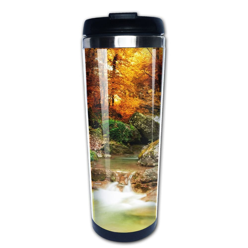 Kooiico Autumn Creek Woods With Yellow Trees Foliage And Rocks In Forest Mountain Coffee Mug Thermal Cups With Easy Clean Lid 14-Ounce Mug