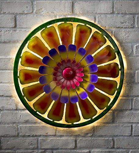Lighted Flower Pop Recycled Oil Drum Lid Wall Art