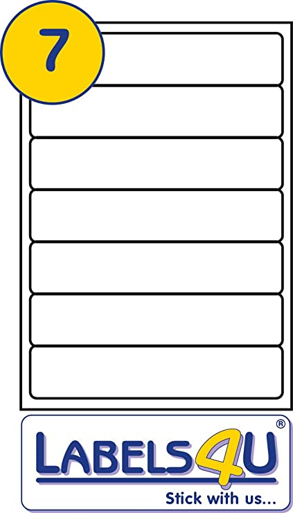 7 Per Page White Self-Adhesive A4 Box File Laser//Inkjet Labels Label Planet®
