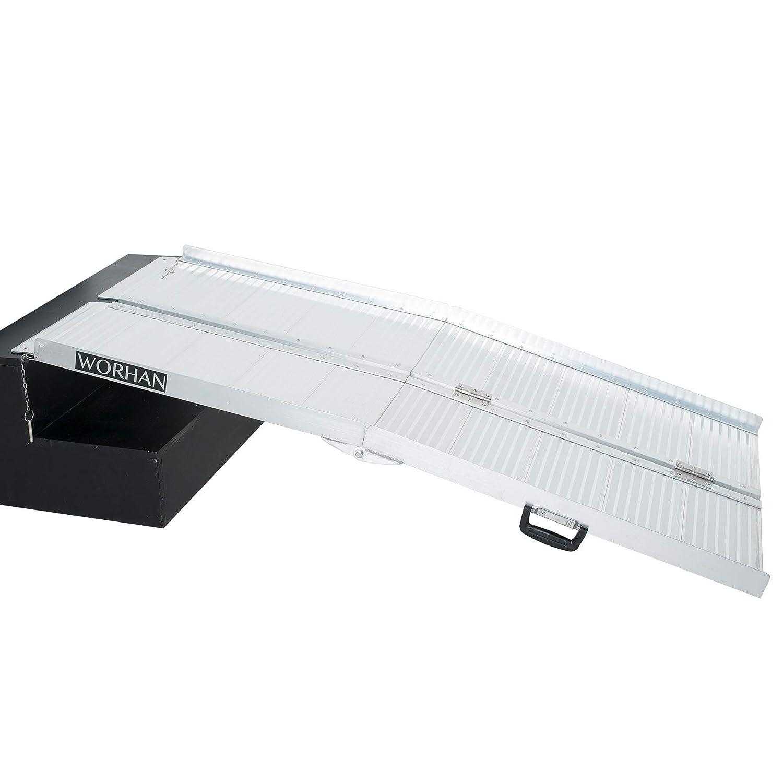 WORHAN® 1.53m Rampe Alu Pliable Valise Aluminium Pour Fauteuil Roulant Chargement Scooter Plate-Forme R5 WORHAN®