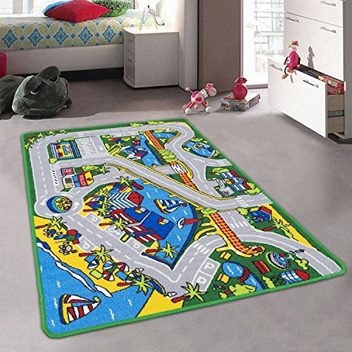 (Children's Play Village City Roads Harbor Map Train Tracks Cars Play Mat Fun (5 Feet X 7 Feet))