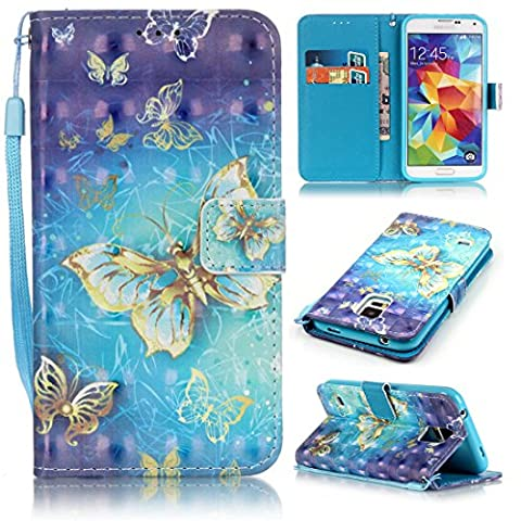 S5 Case, Samsung Galaxy S5 Case, Lwaisy [Wrist Strap] [Stand Function] Premium PU Leather Wallet Phone Case Flip Cover Built-in Card Slots for Samsung Galaxy S5 (Gold (Flip Cover Cases For Galaxy S5)