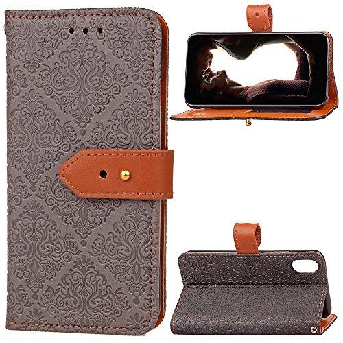 SRY-Caso sencillo Cubierta de cuero de la caja de la bolsa de la carpeta de la PU con la hebilla y el Kickstand del remache del cuero genuino de Geared para IPhone 8 Protección reforzada ( Color : Lig Gray