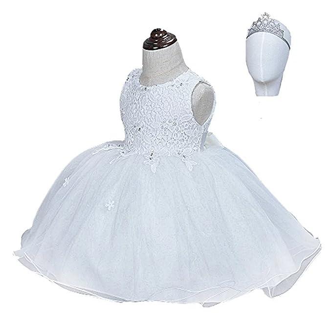812755a1d8a ZAH 2PCS Baby Girls Dresses Christening Baptism Gowns Lace Dress(903 White