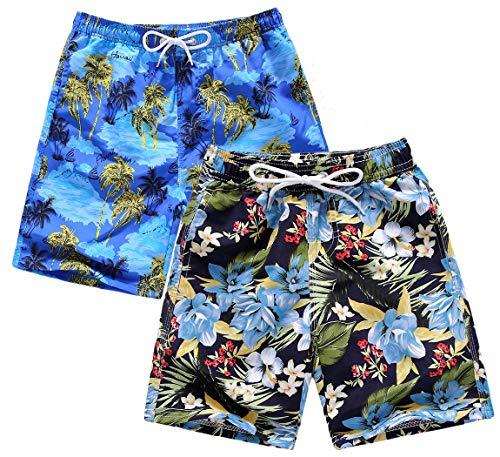 (HolyUnicorn 2-Pack Big Boys' Line Up Quick Dry Beach Swim Trunks Suits Palm Flowers 9 10 )