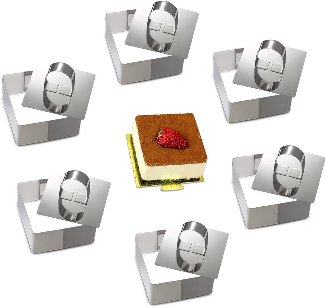 ONEDONE Cake Molds Stainless Steel Cake Rings Cake Mousse Mold with Pusher,3.15in Diameter, Set of 6 (Square)