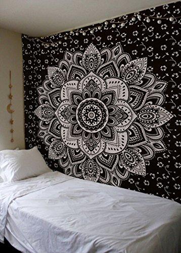 Madhu International Mandala Gold Tapestries (90 x 108inch, Black Silver)