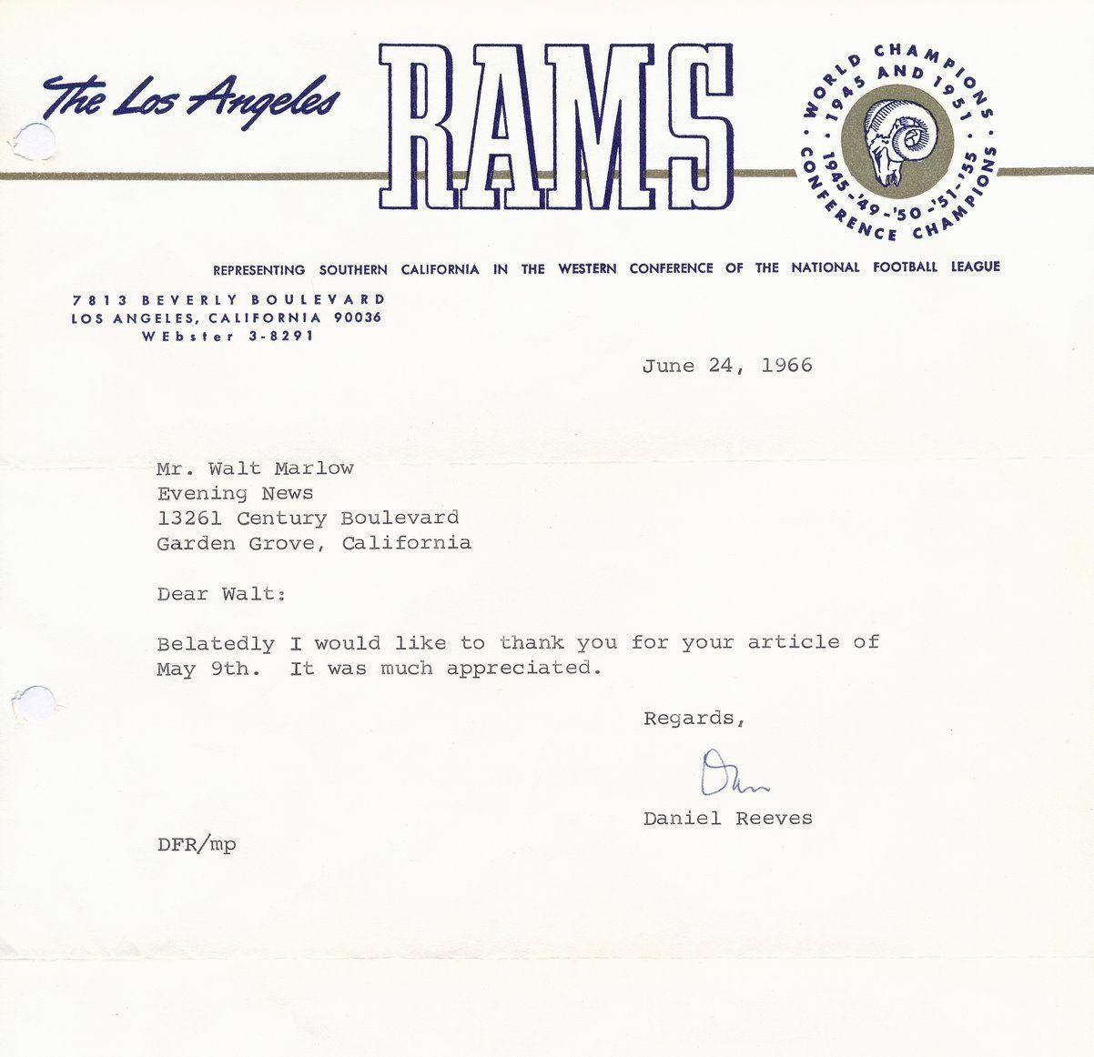 Dan Reeves Rams HOF d 1971 Autographed TLS on Rams Letterhead SIGNED 137200 JSA Certified NFL Cut Signatures