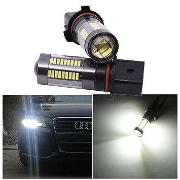 FEZZ 1000LM Coche Bombillas LED para Luz Antiniebla DRL Luz Diurna de Conducción Super Brillante, P13W PSX26W 9V-30V DC, 33W Blanco, Paquete de 2: ...