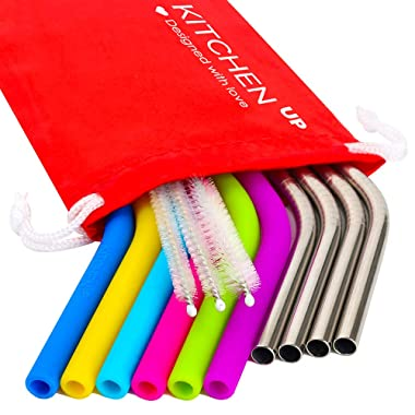 Kitchen Up Straws Set Extra Long, Regular Size Reusable Drinking Natural Bent Straw: 6 Silicone + 4 Stainless Steel Best 18/10 + 3 Brushes + 1 Travel Pouch