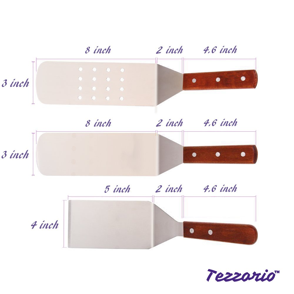 3-Piece Turner Spatula Set by Tezzorio, Stainless Steel Cooking Utensil Kit, Smooth Face Spatula, Perforated Spatula and Turner/Scraper for Griddle Grill by Tezzorio Kitchen Utensils (Image #2)