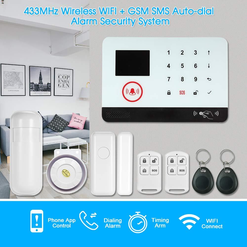 OWSOO 433MHz Sistema de Alarma GSM SMS, Pantalla LCD, Control Remoto de Phone APP, Alarma de Marcación Automática, con Sensor de Puerta/Sensor de ...