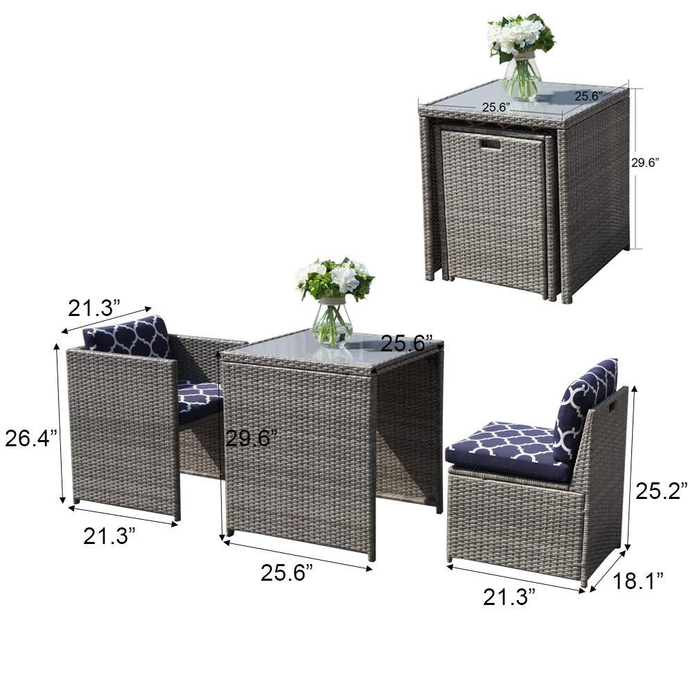 OC Orange-Casual Patio Porch Furniture Set 2 Piece Wicker Rattan Chairs Set with Cushion Armchair Bistro Set Space Saving Grey /& Navy Blue