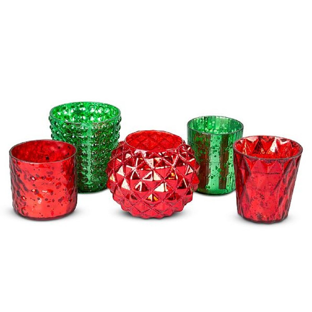 Christmas Red & Green Mercury Glass Votive Candle Holders Set of 5