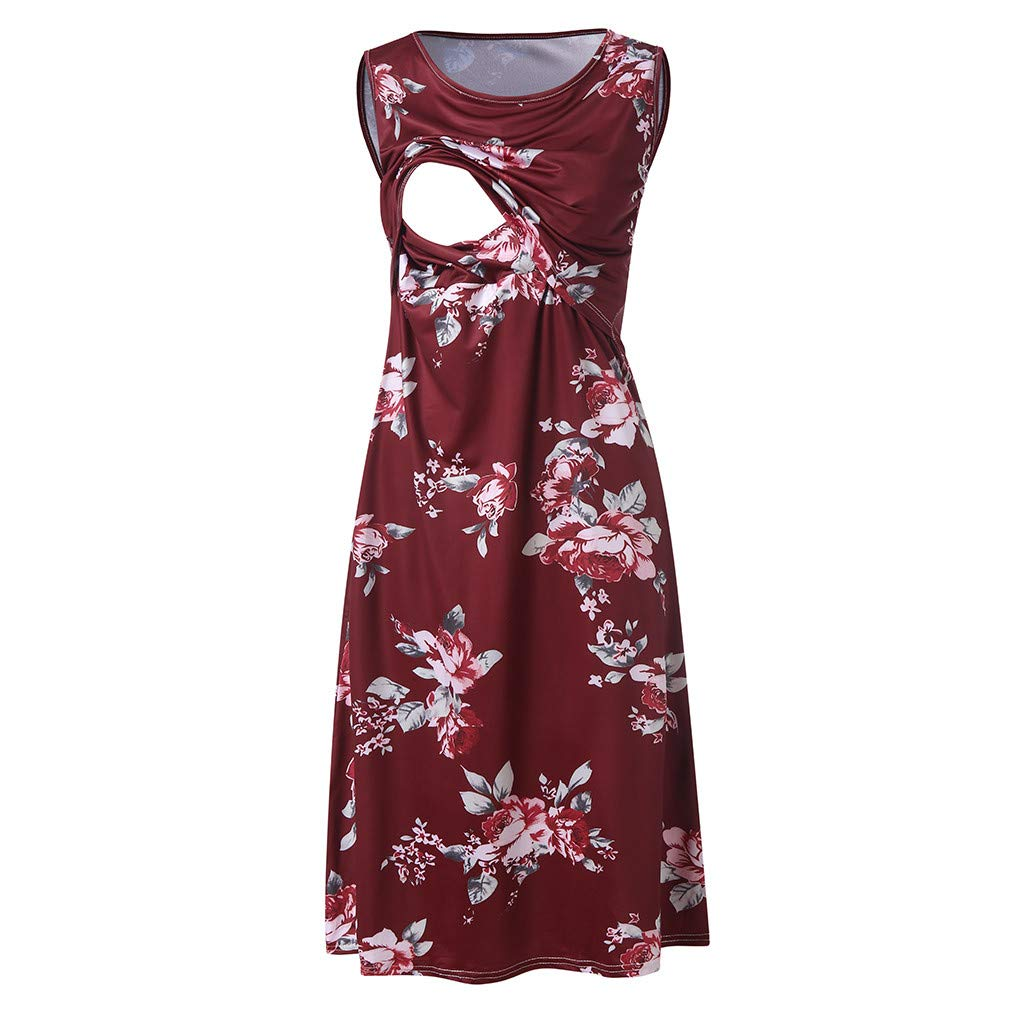 Winsummer Women's Floral Sleeveless Maternity Dress Summer Empire Waist Pregnant Nursing Breastfeeding Dress Red