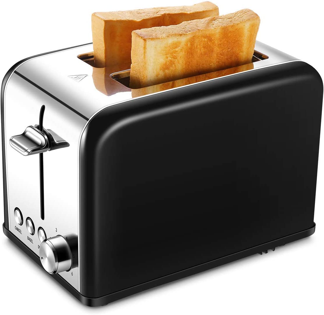 Toaster 2 Slice, Small Wide Slot Black Toasters Two Slice, Stainless Kitchen Toaster for Bagels Bread (Renewed)