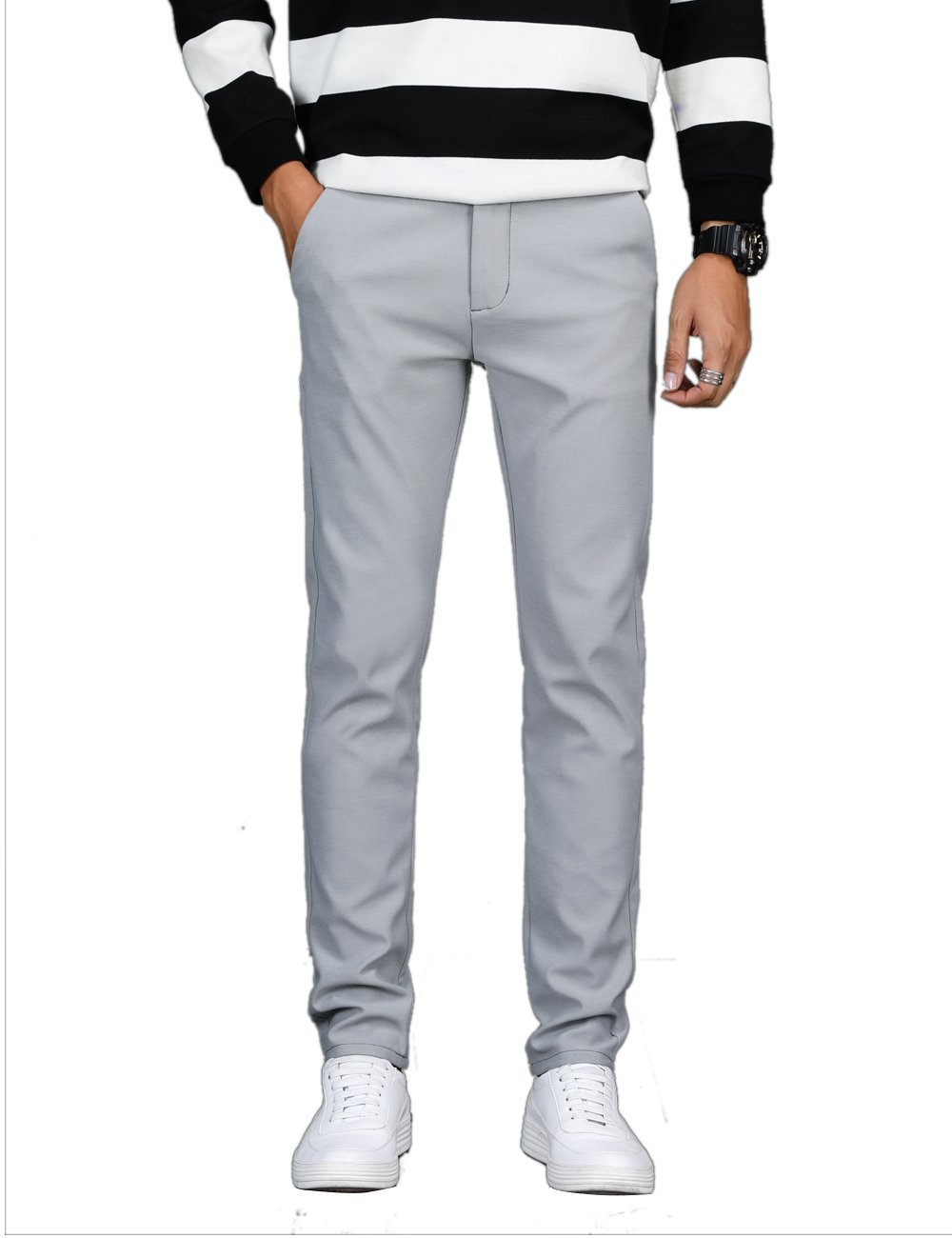 VEGORRS Men's Classic-Fit Wrinkle-Resistant Flat-Front Chino Pant