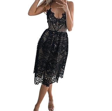 ed0ddda60b8065 Kleid Damen Kolylong® Frauen Elegant Spitze Ärmelloses Kleid Knielang  Spitzenkleid Festlich Rückenfrei Kleider Brautjungfer Hochzeit