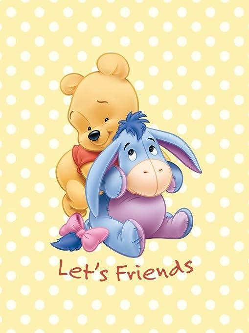 """Bebé Niños – Manta Cochecito """"Winnie the Pooh Let s Friends tamaño"""