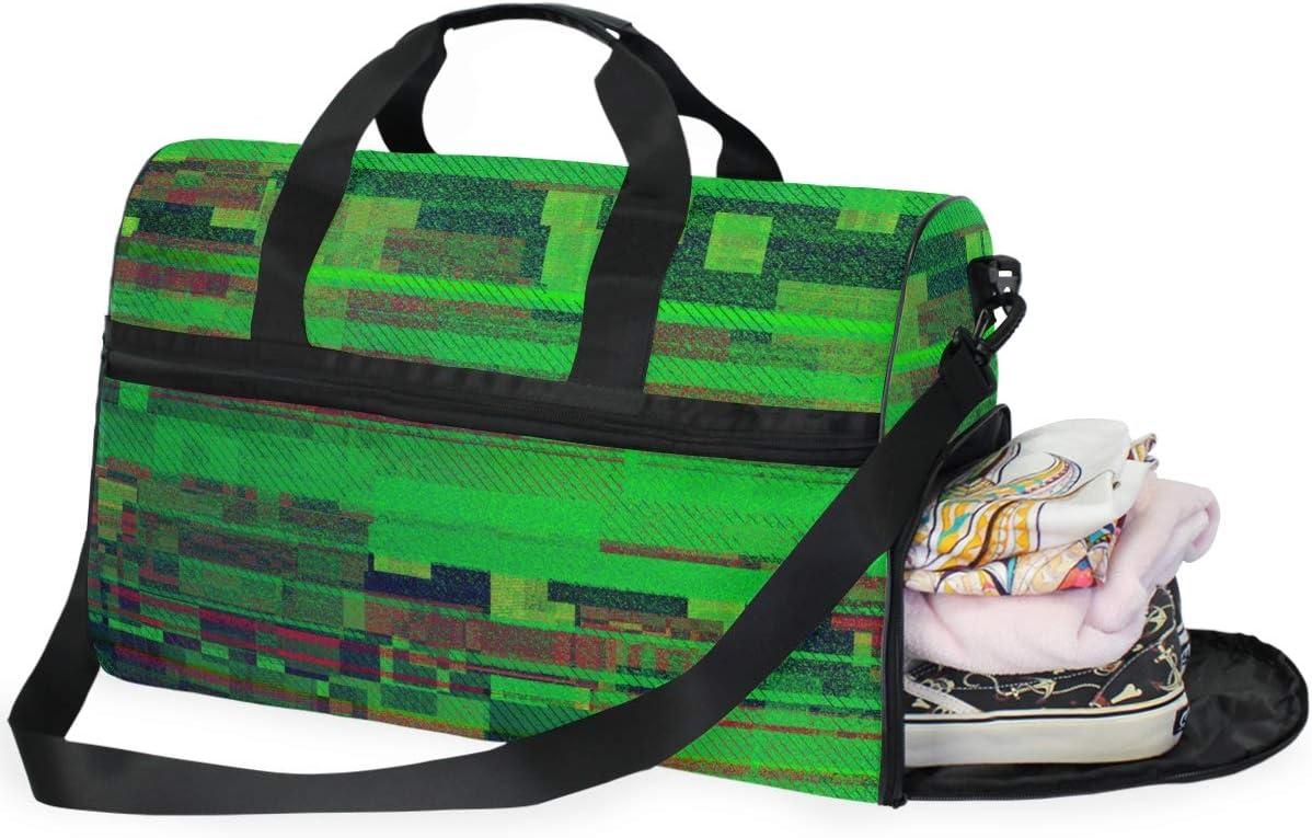 MALPLENA Green Glitch Travel Duffel Bag Weekender Bag with Shoes Compartment for Men Women