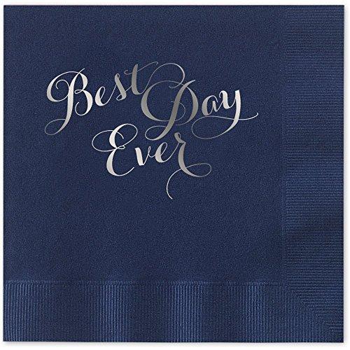 alized Luncheon Dinner Napkins Blue Napkins with SILVER Foil - set of 100 napkins (Graduation Luncheon Napkins)