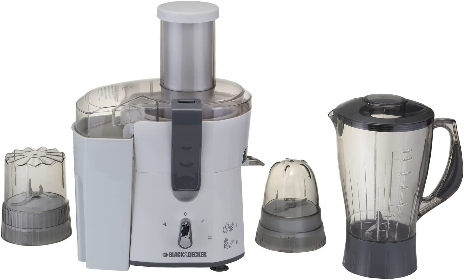 Black & Decker JBGM600-220V Four-in-One Juicer, Blender & Grinder Only 220/240 Volt (Will not Work in USA or Canada), Medium, White