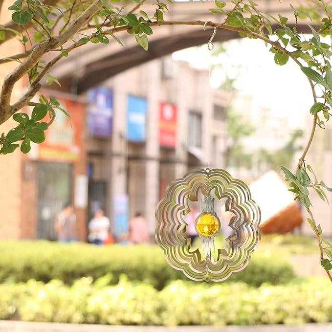 Tonxus - Colgante de Viento para el Aire Libre, jardín, Espiral, Bola de Cristal, Acero Inoxidable 3D, diseño cinético de Metal Giratorio al Aire Libre, decoración para Patio, terraza o Patio: Amazon.es: