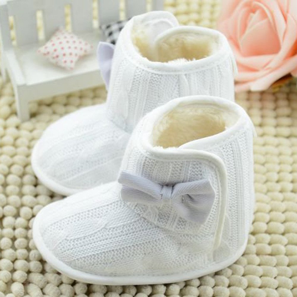 Baby Bowknot Soft Sole Boots,Winter Style Keep Warm Toddler Casual Snow Boots Shoes Baby Gift Kids Slip-on Plush Booties for 0-18 Months