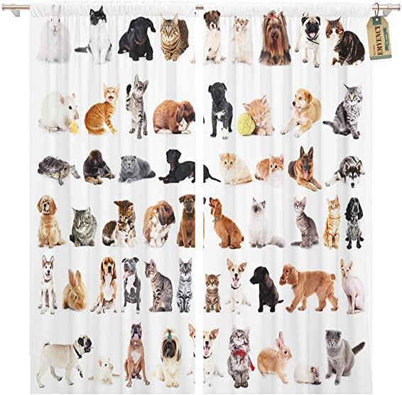 Golee Window Curtain Gray Animal Group of Cute Pets White Domestic Cat Home Decor Pocket Drapes 2 Panels Curtain 104 x 96 inche