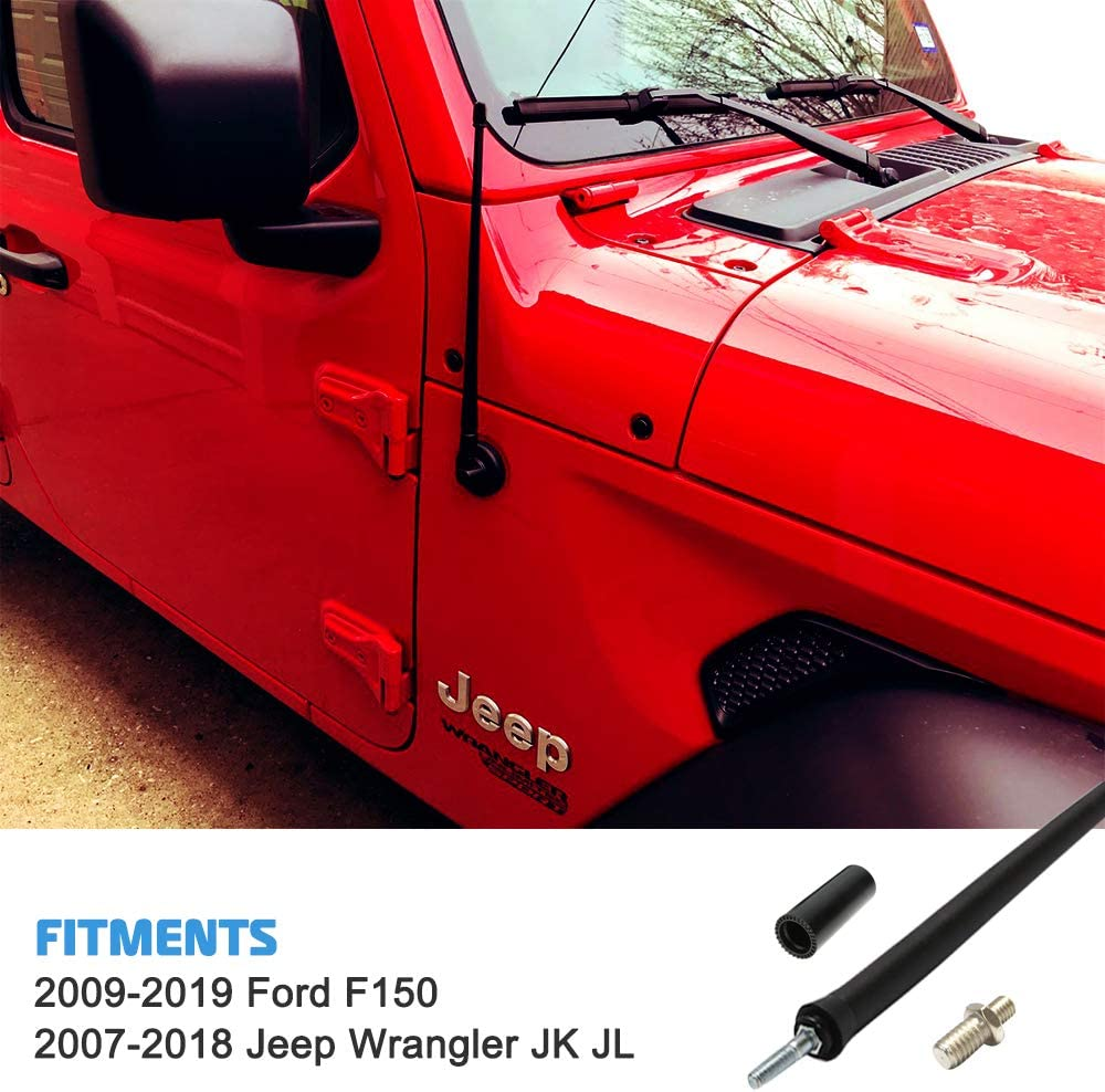 Liberty Radio Antenna 13-inch for 2007-2018 Jeep Wrangler JK JL Replaces# A1J-JEP17,5064351AB Flexible Rubber Antenna