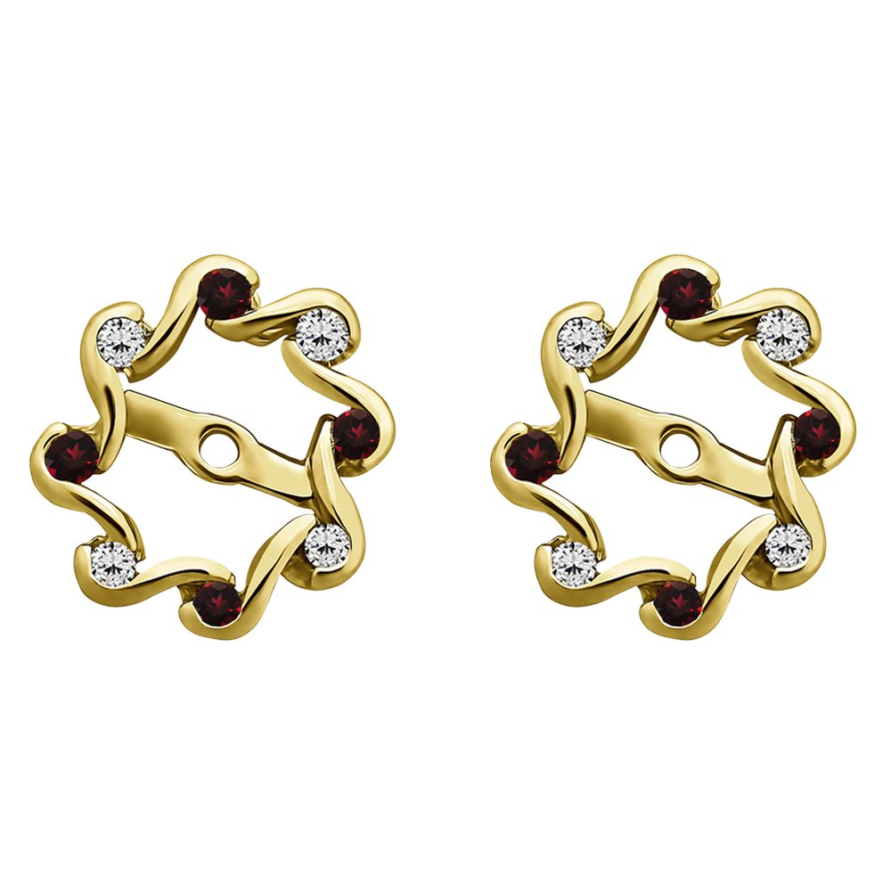 1/4 ct. Diamonds (G-H,I1-I2) and Ruby Genuine Ruby and Diamond Everlasting Earring Jacket in 10k Yellow gold (0.24 ct. twt.)
