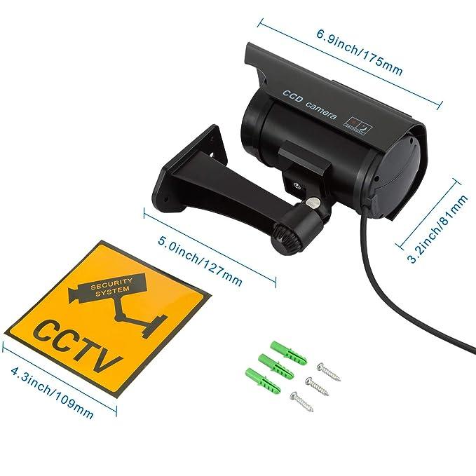 TOROTON 4 PCs Cámara Simulada Cámara Girante CCTV de Vigilancia Energía Solar Seguridad Hogar Largo: Amazon.es: Electrónica