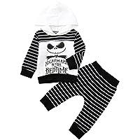 Disfraz Halloween Niño Bebe 1-4 años Ghost Smile Sudaderas con Capucha y Manga Larga + Pantalones a Rayas