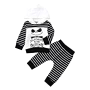Autumn Outfit Set Newborn Baby Boy Girl Skull Striped Hoodie Pants Kids Clothes Set (White, 6-12Months)
