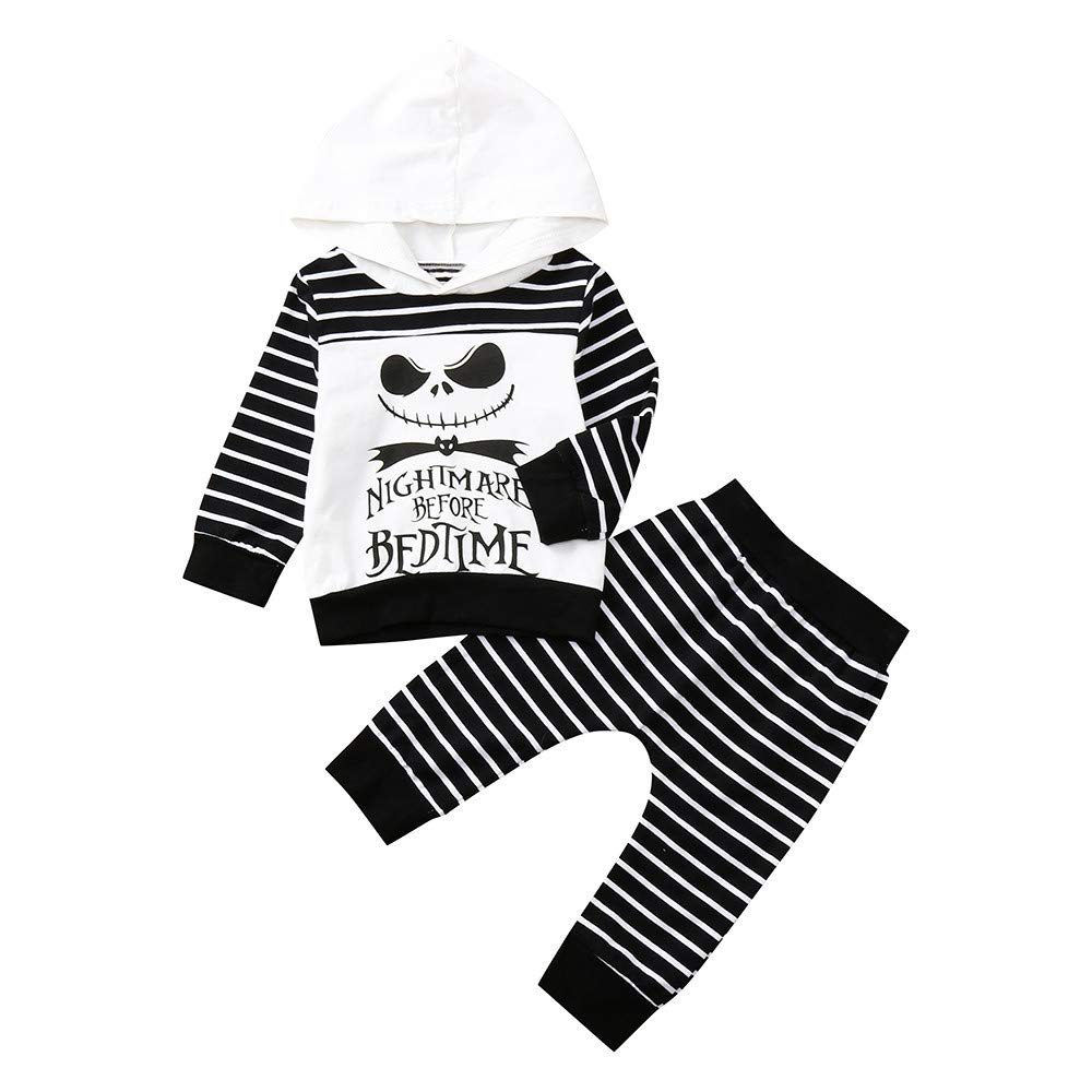 Pumsun ❤️ Newborn Infant Baby Boy Skull Striped Tops Hooded Pants Halloween Outfits Set