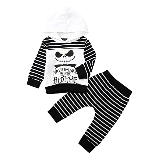 7d932e7ff2e9 Amazon.com  Autumn Outfit Set Newborn Baby Boy Girl Skull Striped Hoodie  Pants Kids Clothes Set  Clothing