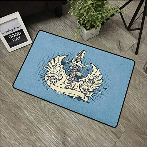 Outdoor door mat W31 x L47 INCH Guitar,Rock n Roll Composition Crown Wings Skulls Stars on Retro Grunge Backdrop, Pale Blue Ivory Black Our bottom is non-slip and will not let the baby slip,Door Mat C