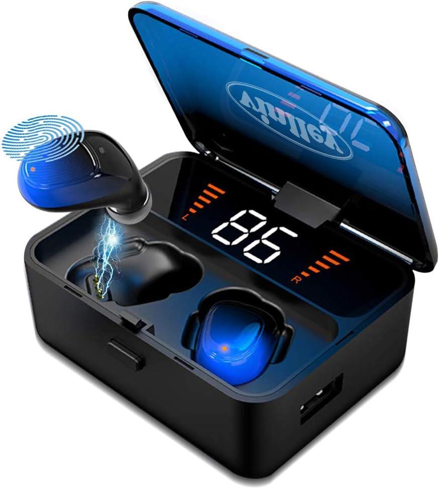 Auriculares Bluetooth 5.0 Cascos Inalámbricos Impermeable TWS HiFi Estéreo In-Ear Antirruido Autonomía 100H Control Táctil con Micrófonos con Caja de Carga para iOS Android, Azul